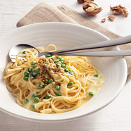 CAMBOZOLA and roasted walnuts on linguine